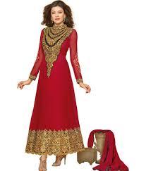 prafful pink anarkali dress material with dupatta buy prafful