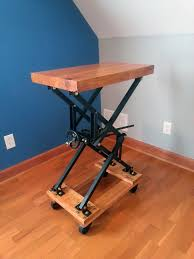Adjustable Height Desk Diy by I Built An Industrial Style Scissor Lift End Table With A Lot Of