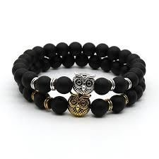 black bead bracelet men images Fashion antique silver and gold plated animal owl head bracelet jpg