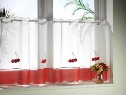 Cherry Kitchen Curtains Retro Kitchen Curtains White And Red Cherry Border Curtain Cotton
