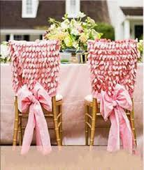 wedding chair covers and sashes customized pink flower leaves wedding chair cover sashes