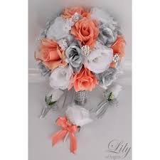coral boutonniere coral silver white bouquets corsages boutonnieres