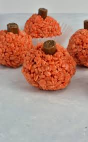 halloween peanut butter rice krispie treat pumpkins recipe