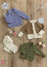 knitting pattern baby sweater chunky yarn raglan sleeve jumper cardigan scarf baby knitting pattern king cole