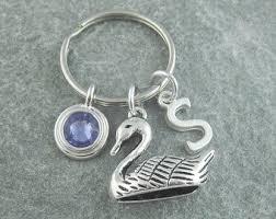 personalized birthstone keychains swan keychain etsy