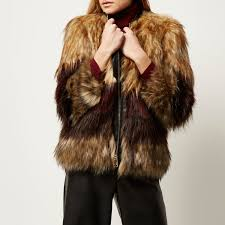 river island brown striped faux fur coat in brown lyst