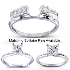 Wedding Ring Wraps by Annello 14k White Gold Round Cut Diamond Wrap Or Princess Cut