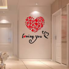 valentines decor 3d lovely mirror hearts home decor diy wall stickers decal