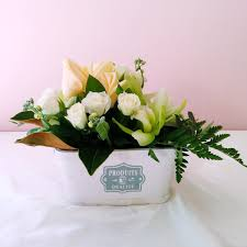 Natural Scent Crate Arrangement Orchid And Roses Natural Scent Flowers