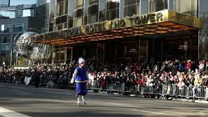 new york city ny november 24 clown rollerblader with crowd