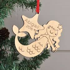mermaid wooden ornament graphic spaces