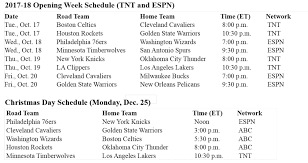 nba unveils national tv schedule for 2017 18 opening week and