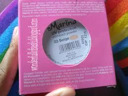 Bedak Marina wonderfull of sashi marina uv protection compact powder 03 beige