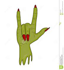 halloween white background zombie hand horns satan sign finger up gesture halloween vector