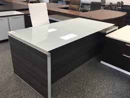 Executive L Desk by Potenza Executive L Desk With White Glass Top Used Furniture