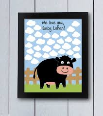 themed guest book cow farm sign in board printable pdf baby shower themed