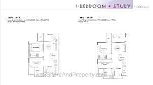 high park residences floor plan 1 bedroom 1 study condo singapore