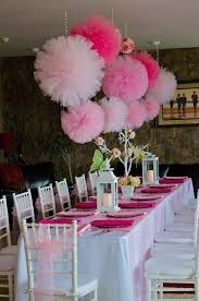 Bachelor Party Decorating Ideas Tulle Pom Poms Pink Party Girls Birthday Party Decorations