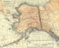Alaska Map by Antique Images Digital Map Background Paper Vintage Alaska Image