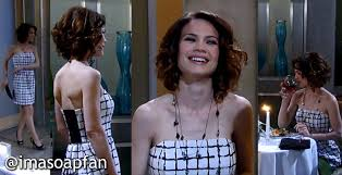elizabeth from gh new haircut elizabeth webber s black and white strapless dress general