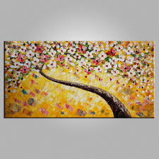 Bedroom Wall Canvases Flower Painting Heavy Texture Art Tree Painting Bedroom Wall