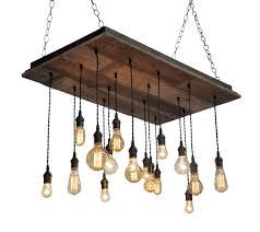 Wooden Chandeliers Lighting Reclaimed Wood Chandelier Edison Bulb Pendants Bare Within Pendant