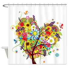 Whimsical Shower Curtains Whimsical Of Flowers Floral Tree 1 Shower Curtain