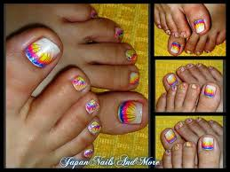 rainbow gel toe nail design youtube