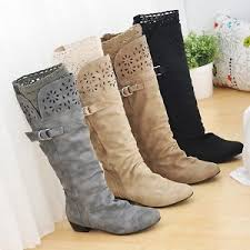s boots plus size calf s biker style lace low heel wide calf high leg knee boots