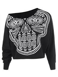 skull pattern skew collar womens sweatshirt sale black