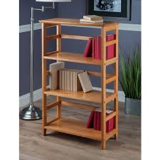 amazon com winsome wood 4 tier bookshelf honey kitchen u0026 dining