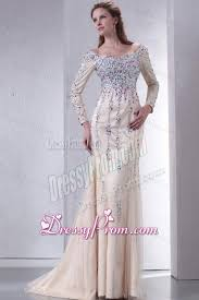 off the shoulder column beading prom dress with long sleeves