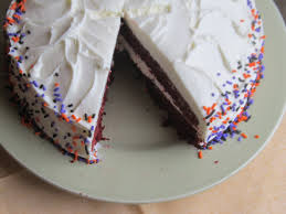 food and thrift red velvet birthday cake with cream cheese icing