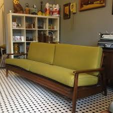 mid century day bed sofa in avocado green tweed fold into bed 650