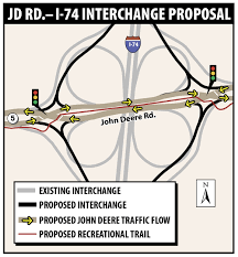 Illinois Interstate Map by New I 74 John Deere Road Interstate Interchange Proposed Local