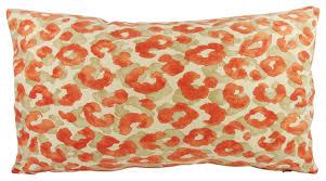 Lumbar Decorative Pillows Orange Animal Print Lumbar Lumbar Throw Pillow With Feather Down