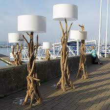 Nautical Floor Lamps Furniture Decorative Driftwood Floor Lamp With Cream Head For