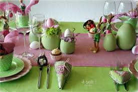 easter table decoration and green easter table decoration