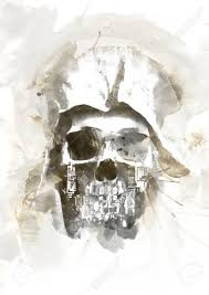 watercolor skull for easy use in designs and layouts stock photo