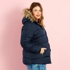 zip up padded jacket with faux fur trimmed hood women plus sizes