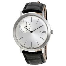 piaget altiplano silver black leather automatic men s