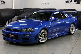 blue nissan skyline harlow jap autos uk stock nissan skyline r34 gtr