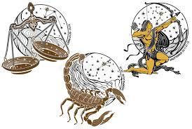 libra scorpio sagittarius zodiac sign horoscope stock vector