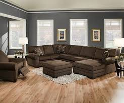modern gray blue living room with brown sofa living room paint