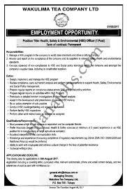 Job Desk Safety Officer Health Safety U0026 Environment Hse Officer Tayoa Employment Portal