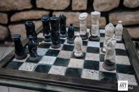 unique raku chess set u2013 u201cgreen u201d vs u201cwhite u201d ceramic art vision by b