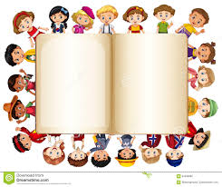 blank book template with children on border stock vector image