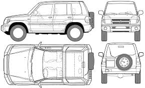 2005 mitsubishi pajero pinin suv blueprints free outlines