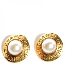 gold clip on earrings chanel vintage pearl clip on earrings gold 78933