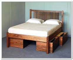 Bed Frame Plans With Drawers Drawer Bed Frame Wood Bed Rustic Brown Diy Bed